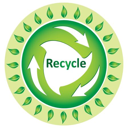 Ecology concept with recycle illustration with leaf Stock Vector - 9929863