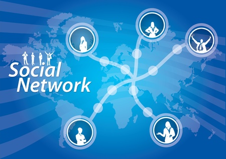 Social Network connection, abstract illustration with human figures Stock Vector - 10081298