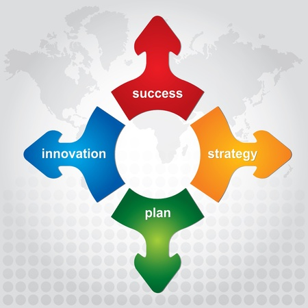 Four key of strategy - abstract business illustration Vettoriali