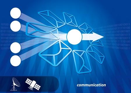 microwave antenna: Concepto de comunicaci�n v�a sat�lite, antena y abstracto de la ilustraci�n Vectores