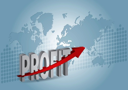 Profit, chart with text and abstract background Vector