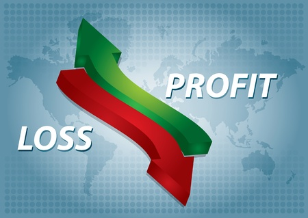 planing: Profit, chart with text, arrows and abstract background Illustration