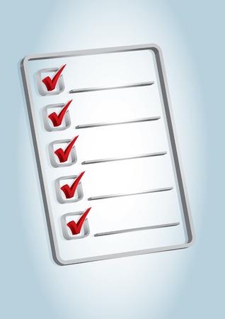 Document avec l'icône de liste de vérification sur le fond