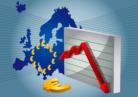 Euro crash, abstract illustration with Euro sign