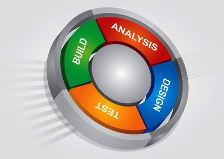 프로젝트 관리 원 차트 및 추상적 인 배경