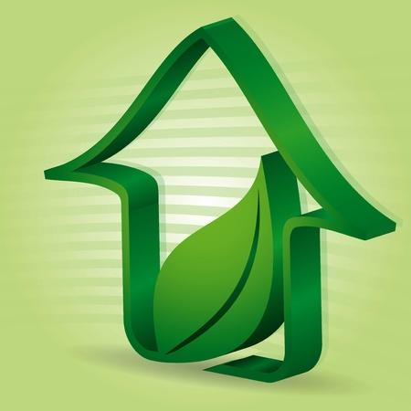 Maison verte avec des feuilles - illustration abstraite avec un fond