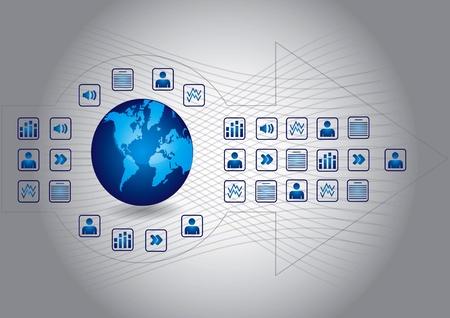 Concepto de comunicación con los iconos de los documentos y el fondo abstracto