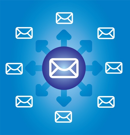 E-mail icon, envelope with abstract background and arrows 일러스트