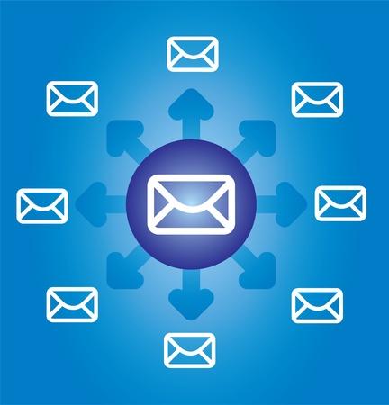 E-mail icône, l'enveloppe avec un fond abstrait et flèches Illustration