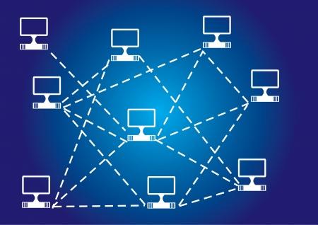 overdracht: Computernetwerk, abstracte illustratie op de blauwe achtergrond Stock Illustratie