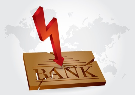 failures: Financial concept - bank failures, abstract illustration with broken bank plate