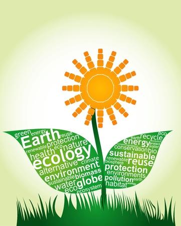 complejidad del ecosistema - resumen ilustración con las teclas de la ecología