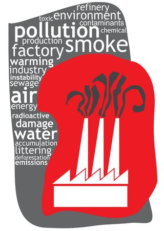 dea: Industrial pollution illustration with keywords and abstract illustration