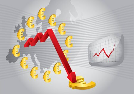 devaluation: Euro crash, abstract illustration with Euro sign