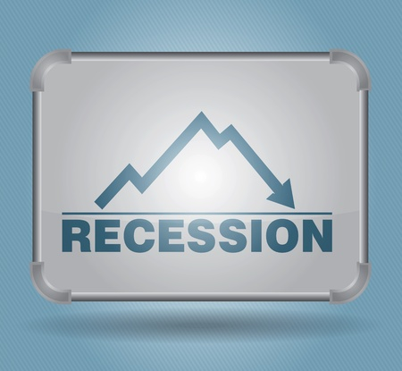 busines: Recession, busines concept with graph and text on advertising table