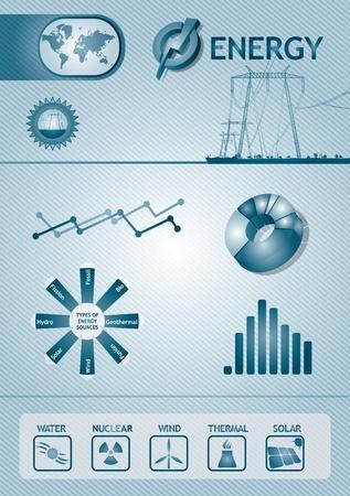 nuclear symbol: Gr�fica de la energ�a Infograf�a - dise�o de la plantilla abstracta