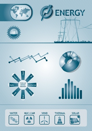 nuclear sign: Infographic energy chart - abstract template design Illustration