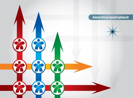 Hierarchical Social Network connection, abstract illustration with human figures Illustration