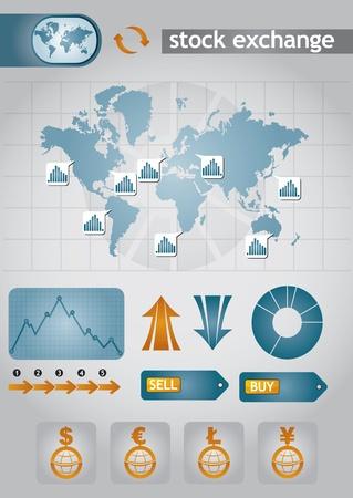 stock  exchange: Gr�ficos de archivo de intercambio con fondo abstracto y el diagrama