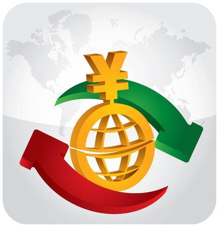 yen sign: Cambio de divisas - signo del yen con las flechas y el fondo