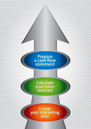 Steps to Profitable Business Planning, abstract illustration Ilustração Vetorial