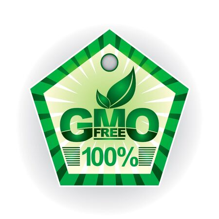 gmo: Non genetically modifies plants - green label layout