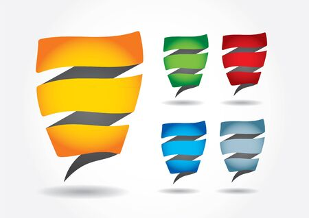 Abstract editable color strip sticker collection with shadow and background Stock Vector - 11555305