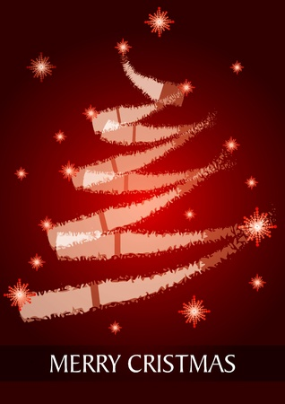 Christmas Card with abstract Christmas tree red background - bitmap format Vector
