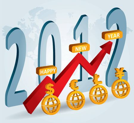 financial year: 2012 -  New Year celebration, financial background for poster and flayer