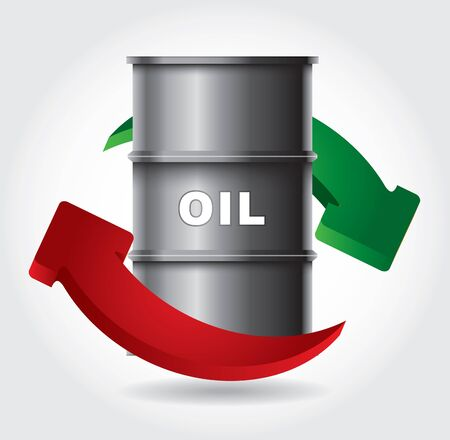Sell and buy oil - abstract graphics with tank and arrows