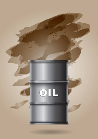 combustible: Oil barrel with hand painted abstract background Illustration