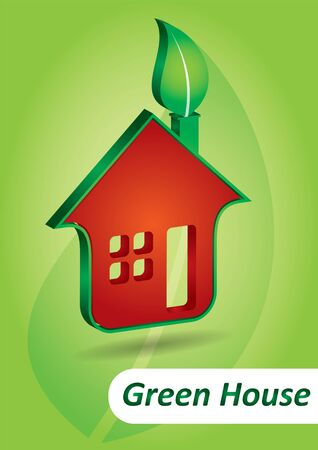 Green house icon with leaf and background Vector