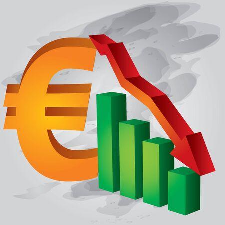 Decrease in Euro exchange rate Stock Vector - 11868693