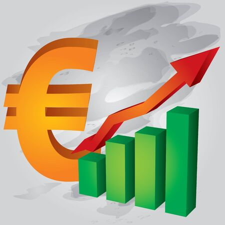 Euro exchange rate increases Vector