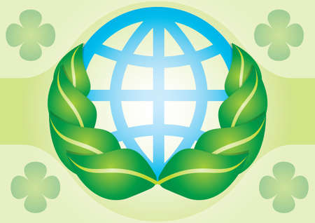 Ecological strategy - abstract illustration with leaf globe Stock Vector - 11868703