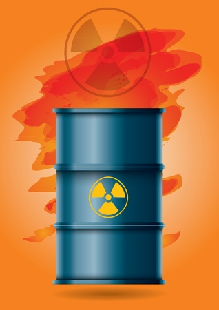 barrel radioactive waste: Radioactive waste, barrel with  sign and abstract background
