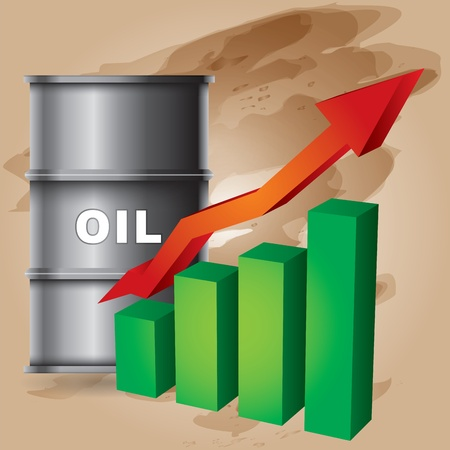Crude oil price rise - abstract illustration with barrel and diagram Stock Vector - 11926683