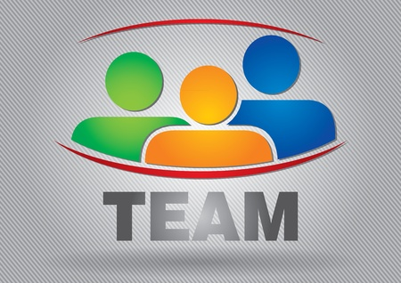 Team - Kommunikations-Konzept mit Werbetafel, mit Zeichen und Text
