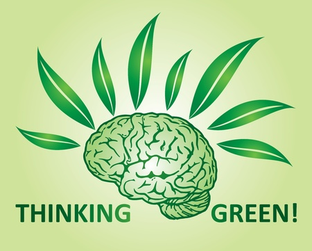 Thinking green environmental concept with human mind and leaf Vector