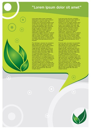 Ecology template - modern lyaout design with leaf Stock Vector - 12375955