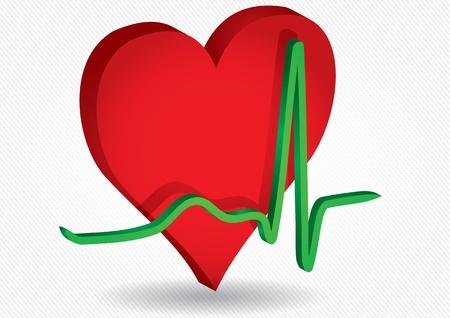 kardio: Orvosi háttér piros tűzhely és az EKG-görbét Illusztráció
