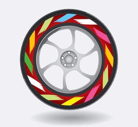 Automotive wheel with printed decoration on tires Illusztráció