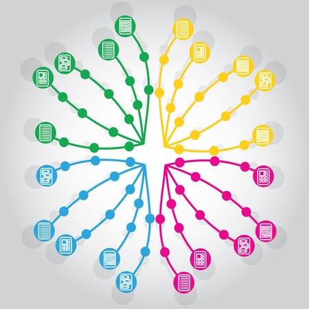 Netzwerk-, Dokumenten-Aktien Darstellung mit Icons und Hintergrund