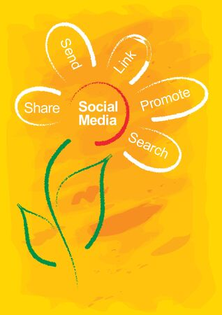 communication concept: Social Media concept, abstract illustration with flower