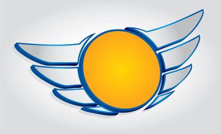 engel tattoo: Flügel-Emblem mit Kreis