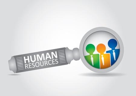 ressources humaines: Concept de ressources humaines - illustration abstraite avec la loupe