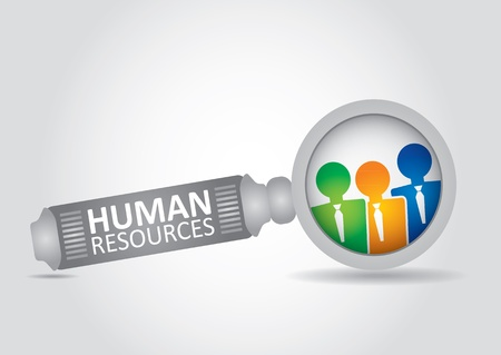 job recruitment: Human resource concept - abstract illustration with magnifying glass