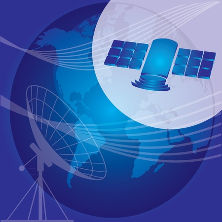 microwave antenna: Concepto de comunicaci�n - ilustraci�n abstracta con la antena y el sat�lite Vectores