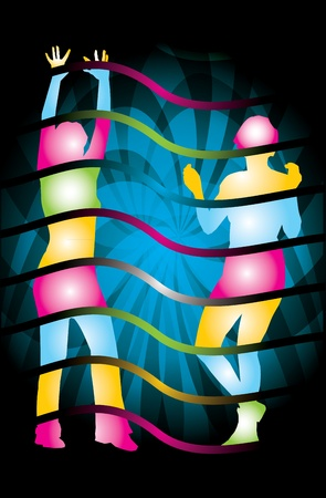 Party time - abstract illustration with color Silhouette