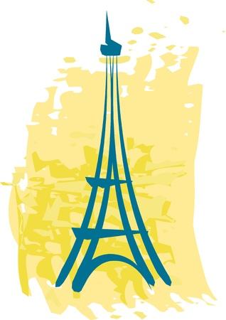 카드, 초대장 노란색 배경 손으로 그린 추상적 인 에펠 탑, 일러스트